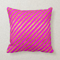 Hot Pink Gold Stripe Faux Foil Metallic Stripes Throw Pillow