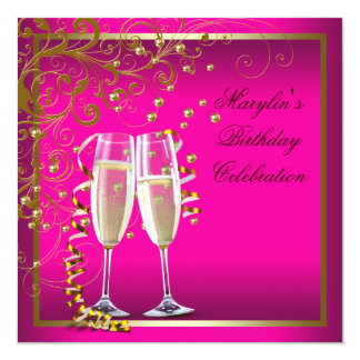 Hot Pink Gold Womans Hot Pink Birthday Party Card