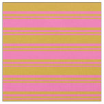 [ Thumbnail: Hot Pink & Goldenrod Colored Pattern Fabric ]
