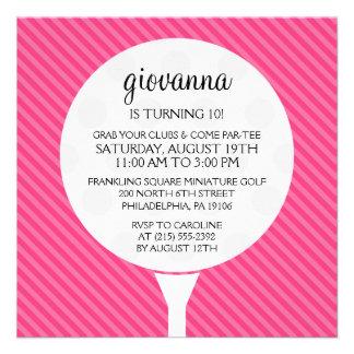 Hot Pink Golf Ball Miniature Golf Birthday Party Invitation