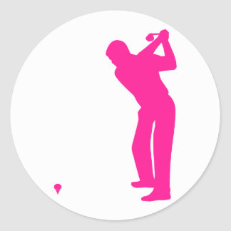 Hot Pink Golf Classic Round Sticker