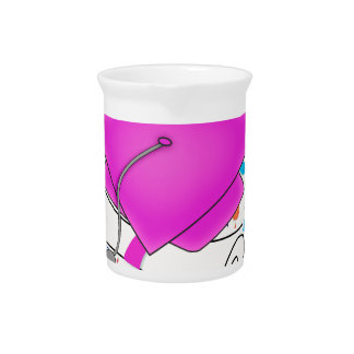 Hot Pink Graduation Cap and Diploma, Colorful Cap Drink Pitcher
