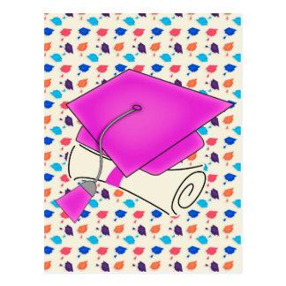 Hot Pink Graduation Cap and Diploma, Colorful Cap Postcard