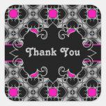 Hot pink, gray, and black elegant medieval pattern square sticker