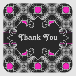 Hot pink, gray, and black elegant medieval pattern sticker