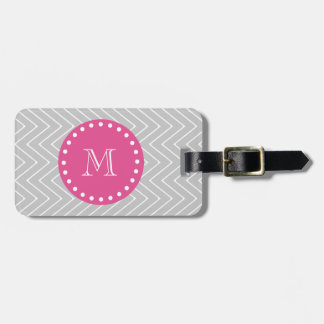 Hot Pink, Gray Chevron | Your Monogram Bag Tag