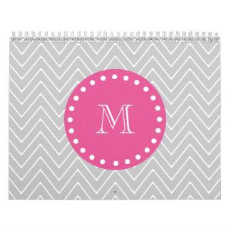 Hot Pink, Gray Chevron   Your Monogram Calendars