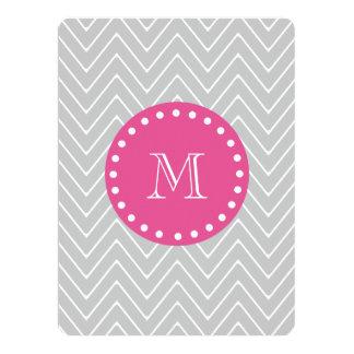 Hot Pink, Gray Chevron   Your Monogram Card