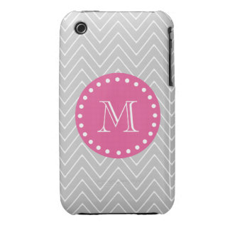 Hot Pink Gray Chevron Your Monogram iPhone 3 Covers