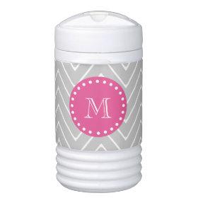 Hot Pink, Gray Chevron   Your Monogram Igloo Beverage Cooler