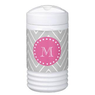 Hot Pink, Gray Chevron | Your Monogram Igloo Beverage Cooler