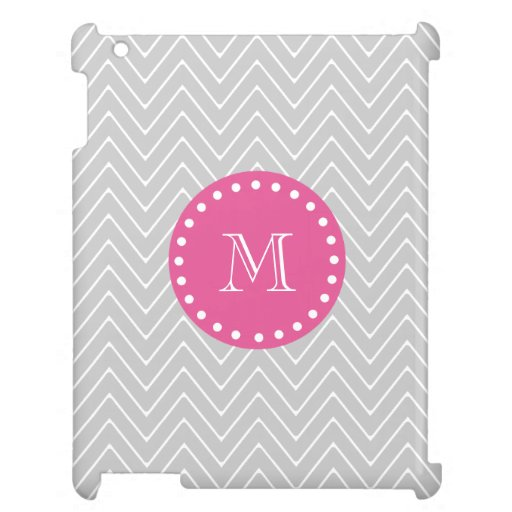 Hot Pink, Gray Chevron | Your Monogram Cover For The iPad 2 3 4