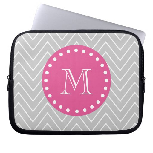Hot Pink, Gray Chevron | Your Monogram Computer Sleeve