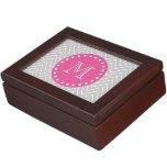 Hot Pink, Gray Chevron | Your Monogram Memory Box