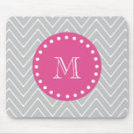 Hot Pink, Gray Chevron | Your Monogram Mouse Pad