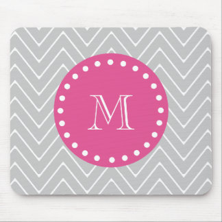 Hot Pink, Gray Chevron | Your Monogram Mouse Pads
