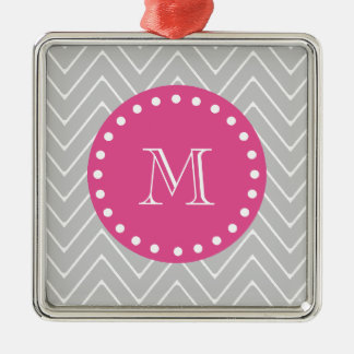 Hot Pink, Gray Chevron | Your Monogram Christmas Ornament