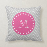 Hot Pink, Gray Chevron | Your Monogram Throw Pillow