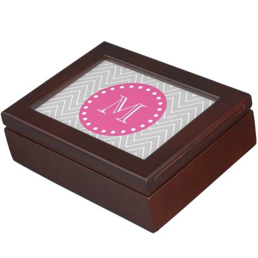 Hot Pink, Gray Chevron   Your Monogram Memory Box