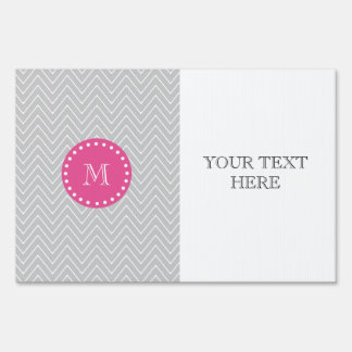 Hot Pink, Gray Chevron | Your Monogram Lawn Signs