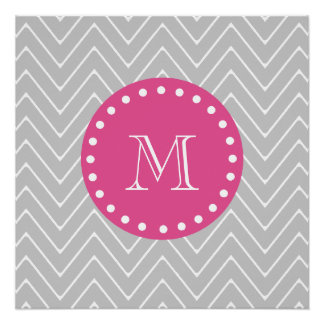 Hot Pink, Gray Chevron | Your Monogram Perfect Poster
