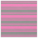[ Thumbnail: Hot Pink & Gray Colored Stripes Pattern Fabric ]