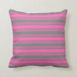 [ Thumbnail: Hot Pink & Gray Colored Stripes Pattern Pillow ]