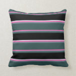 [ Thumbnail: Hot Pink, Gray, Dark Slate Gray, Black & Lavender Throw Pillow ]