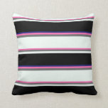 [ Thumbnail: Hot Pink, Gray, Mint Cream, Black & Midnight Blue Throw Pillow ]