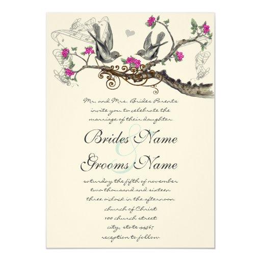 Hot Pink & Gray Vintage Birds Wedding Invite