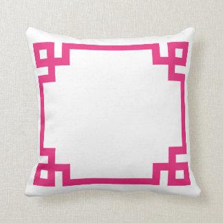 Hot Pink Greek Key Throw Pillow