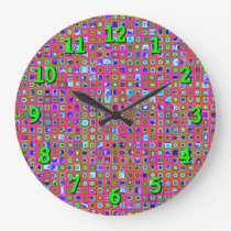Hot Pink, Green And Purple Funky Tiles Pattern Large Clock