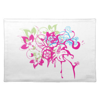 Hot Pink Green Aqua Flowers Abstract Drips Art Cloth Place Mat