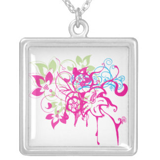 Hot Pink Green Aqua Flowers Abstract Drips Art Silver Plated Necklace