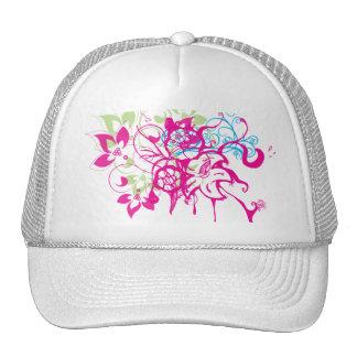 Hot Pink Green Aqua Flowers Abstract Drips Art Trucker Hat
