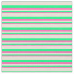 [ Thumbnail: Hot Pink, Green & Bisque Colored Lines Fabric ]