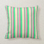 [ Thumbnail: Hot Pink, Green & Bisque Colored Lines Pillow ]