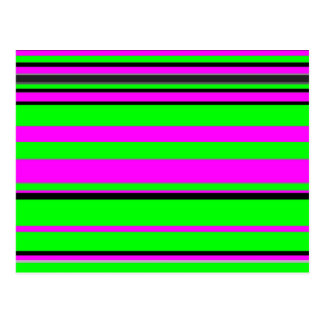 Hot Pink Green Black Colorful Stripe Pattern Postcard