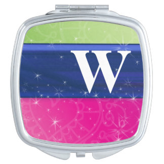 Hot Pink Green Blue 80s Colors Glitter Monogram Mirror For Makeup