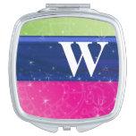Hot Pink Green Blue 80s Colors Glitter Monogram Vanity Mirrors
