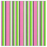 [ Thumbnail: Hot Pink, Green, Chartreuse, Cyan & Black Lines Fabric ]