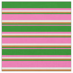[ Thumbnail: Hot Pink, Green, Chocolate & White Stripes Fabric ]