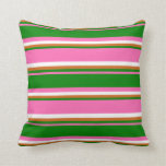 [ Thumbnail: Hot Pink, Green, Chocolate & White Stripes Pillow ]