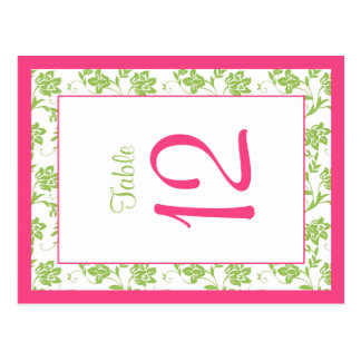 Hot Pink Green Damask Floral Wedding Table Card Postcard