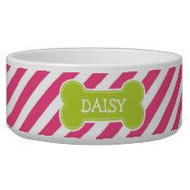 Hot Pink & Green Modern Diagonal Stripes Bowl