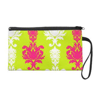 Hot pink & green neon damask floral retro pattern wristlet
