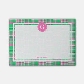 Hot Pink Green Patchwork Madras Plaid 1IR Framed Post-it Notes