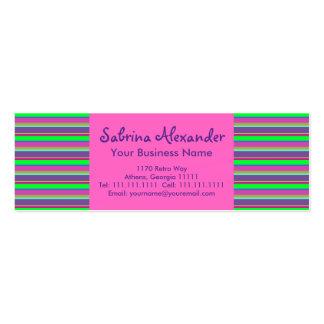 Hot Pink, Green & Purple Girls Fun Retro Stripes Business Card Templates