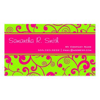 Hot Pink & Green Scroll Stripe Minimal Info Design Business Cards