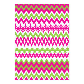 Hot Pink Green Tribal Chevron Pattern 5x7 Paper Invitation Card